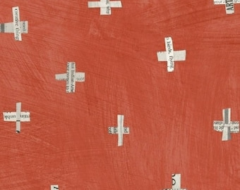 Dreamer by Carrie Bloomston for Windham Fabrics - Full or Half Yard Newsprint Plus in Coral Modern