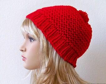 Valentines Hat, Valentines Knit Hat With Pom Pom, Chunky Knit Hat, Pom Beanie, Slouchy Beanie Hat, Knit Slouch Hat Slouch Beanie Slouchy Hat