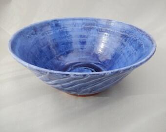 Large Ceramic Serving Bowl, Blue Pottery Salad Bowl, Fruit Bowl