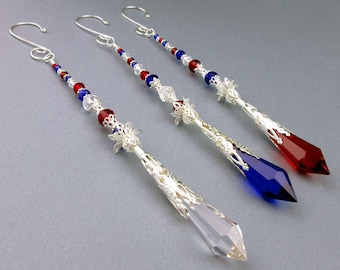 Crystal Suncatcher, Icicle Ornament, Red White Blue, Glass Crystals, Crystal Prisms, Silver, Handmade Hanger, Meditation Tool, Patriotic