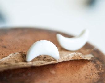 Porcelain earrings, crescent moon earrings, moon phase earrings, moon stud earrings, white earrings, ceramic earrings, mens earrings