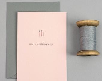 Birthday card, simple birthday card, card for a friend, happy birthday doll
