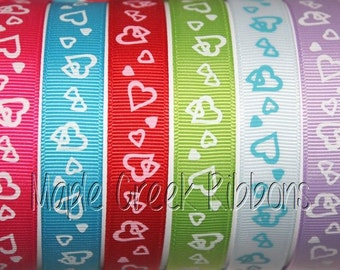 "5/8"" Heart Print Grosgrain Ribbon 5/8"" x 1 yard"
