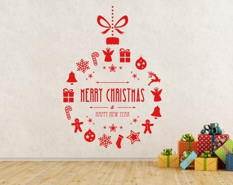 Merry Christmas  & Happy New Year Bauble decoration. Self adhesive vinyl decal sticker.(#195)
