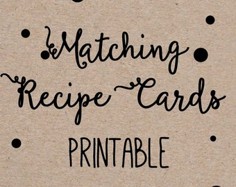 Printable Recipe Cards to Match any Invitation Design from OhCreativeOne, DIY digital file