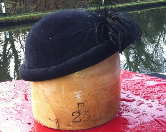 Handmade Rolled Edge Hat with Feather Detail - choice of colour and size