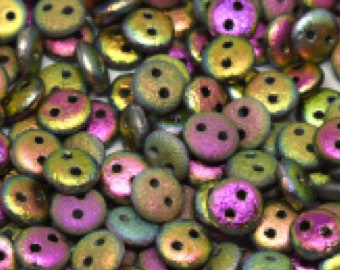 2-hole Lentil 6 mm Etched Crystal Vitrail Full - 50 beads
