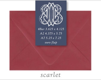 Scarlet | 10 Blank Euro Envelopes | A7 • A2 • RSVP