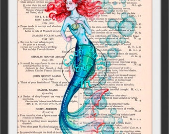 Multi-Hue Mermaid with Water Bubbles Art Vintage Dictionary Page Art Print Upcycled Page Print,Note Card Print