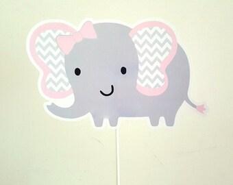 Elephant Cake Topper - Elephant Centerpiece Stick