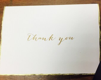Gold Deckle Edge Thank You Card + Envelope
