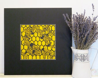 Beehive print, Papercut bee art, Nature lover gift, Bee lover gift, Entomology gift, Housewarming gift, Insect lover gift, Home decor print