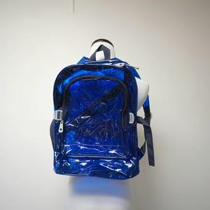 90s transparent blue backpack