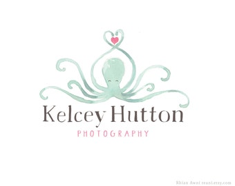 Watercolor Logo with Branding - Watermark, Business Card Design, Blog Banner, Facebook Cover, Octopus, Camera, Stork, Bunny, Deer, Sunflower