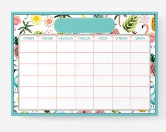 Reusable Kids Planner/Daily Tasks/To Do List + Liquid Chalk Marker + Marker Clip – A3 | Flamingo