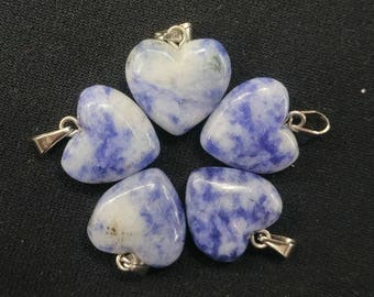 50pcs/lot -Natural White Blue Sodalite Heart Pendant 15mm - silver bail