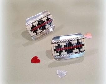 Retro Sterling Bead Earrings - Pierced - Southwestern Jewelry