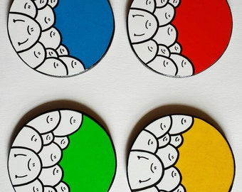 Grundfarben - Chep-Untersetzer - Set von 4