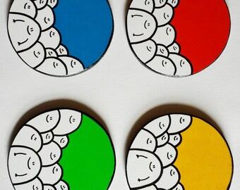Primary Colours - Chep Coasters - Set of 4