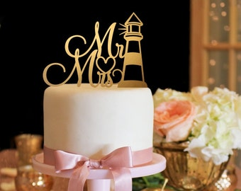 Mr & Mrs Wedding Cake Topper - Lighthouse Cake Topper - Gold Cake Topper