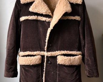 Vintage FAUX SHEARLING Brown Corduroy Overcoat w. Faux Shearling Lining and Lapels Tom Ford Style Size 38/40 Amazing