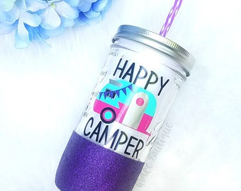 Happy Camper Cup // Cup for Camping // Summer Cup // Camping Tumbler