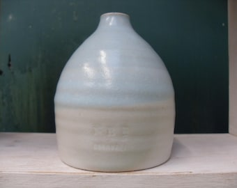 Cute Two Tone Blue and White Stoneware Pottery Bud Vase
