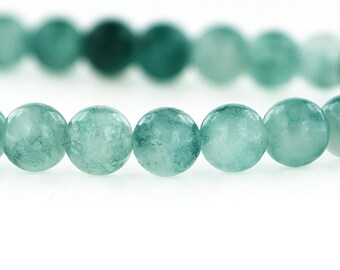 46 Natural Jade Beads - Two Tone Caribbean Sea Green - 8mm - 1 Strand - BD072