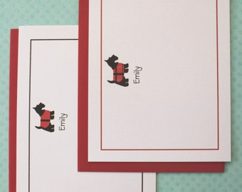 Scotty Note Cards. Red and Black Scottish Terrier, Dog Note Cards, Scotty Linen Thank You Cards, Free Return Address Labels