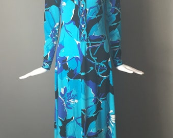 Gorg Vtg 70s Mr Dino Sapphire Blue & Black Mod Signed Print Maxi Dress Long Sleeves M Jersey Poly Excellent Condition