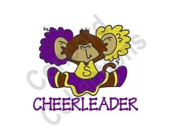 Cheerleader - Machine Embroidery Design, Monkey