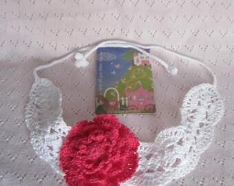 Crochet Girl Red Flower Headband, Christmas Red Flower Headband, Girl Summer Headband, Flower Head wrap, Girls Red Flower Headbands
