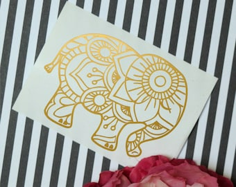 Mandala Elephant Decal, Laptop Decal, Glossy Vinyl Decal, Mandala Animal, Mandala decal, Elephant Decal