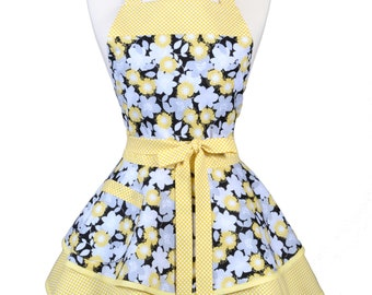 Ruffled Retro Apron - Buttercup Yellow Gray Black Floral Kitchen Apron - Womens Sexy Cute Pinup Apron with Pocket - Monogram Option