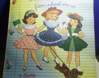 Vintage Three Little Maids From School are We Paper Dolls, 1957