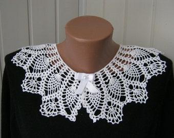 Openwork collar. Handmade collar, Lacy white collar, Women's neck decoration, Crochet collar