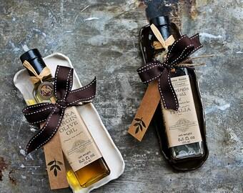 Gourmet Gift Set - Balsamic Vinegar Set- Olive Oil Set - Ceramic dipping tray - Hostess Gift - Thank you gift