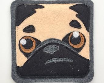 Pixey-the-Pug felt coaster (1)