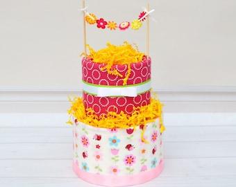 Flower Diaper Cake, Flower Child Baby Shower, Baby Cake Shower Decoration, Girl Baby Shower Centerpiece, Diaper Cake for Girl