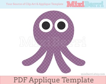 Octopus Applique Template PDF