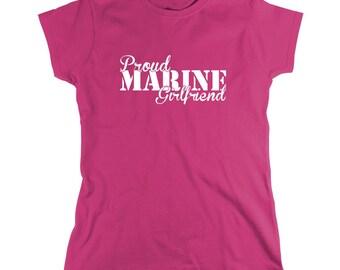 Proud Marine Girlfriend Shirt, soldier, navy, army, air force, marine, gift idea for girlfriend - ID: 812