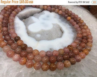 50% Mega Sale 8mm Pink Orange Morango Quartz Gemstone Beads