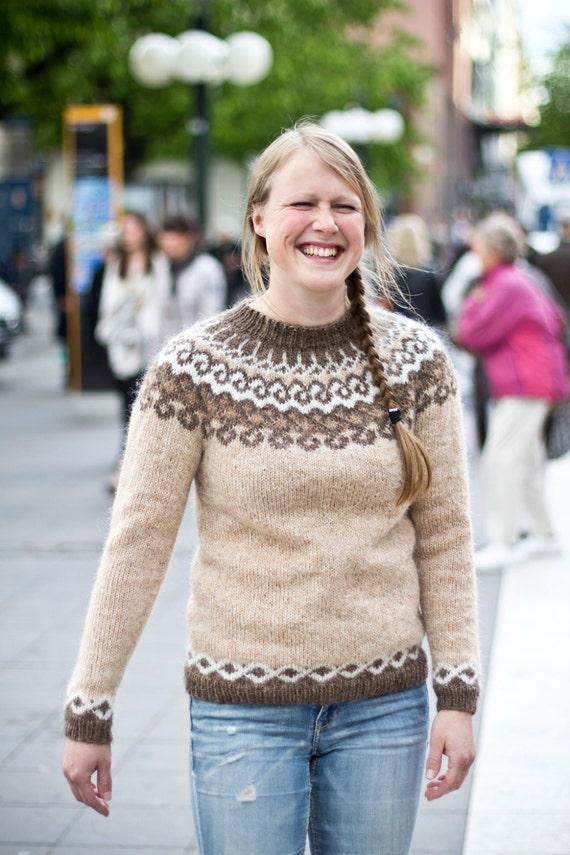 Thingvellir pattern for knitted sweater wool lopapeysa