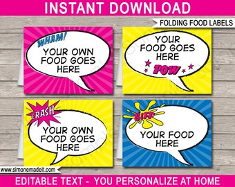 Girl Superhero Food Labels - Supergirl Theme Party - Buffet Tags - Printable Party Decorations - INSTANT DOWNLOAD with EDITABLE text