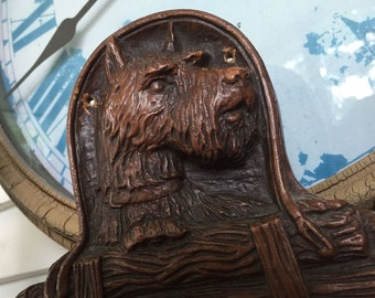 Scotty Dog Tie Rack Scarf Key Holder Jewelry Hanger Charming Syroco Wood 1940s Collectible