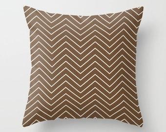 Chevron Pillow cover brown Pillow Cover Decorative Pillow Cover Striped Pillows Size Choice