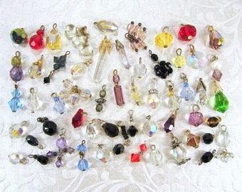 LOT 56 Pc Tiny Crystal Dangle Small Charms Dangles Little Drops Red Blue Yellow Black Green Purple Aurora Borealis Charms Diminutive Crafts