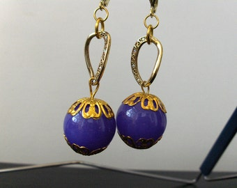 Lilac Chalcedony Stone Spheres and Gold Round Earrings