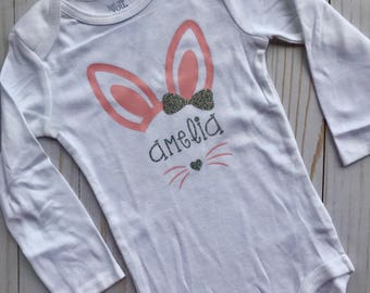 Personalized Easter Bunny Name Girl Bodysuit