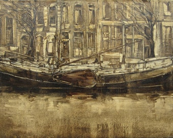 Old ship - Amsterdam motive - original oil painting on canvas